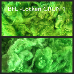 Fleece-Wool BFL-Curls Green 1-10g