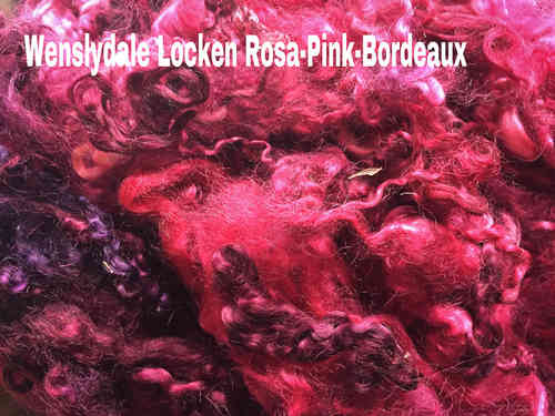 Needle Felting 10g Hand Dyed Wool Locks in Pink Spinning Curls